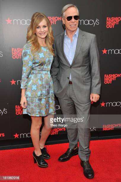 Actress Britt Robertson and designer Tommy Hilfiger attend Tommy Hilfiger Celebrates Fashion's Night Out at Macy's Herald Square on September 6 2012...