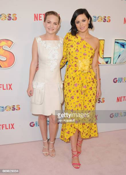 Actress Britt Robertson and executive producer Sophia Amoruso arrive at the premiere of Netflix's 'Girlboss' at ArcLight Cinemas on April 17 2017 in...
