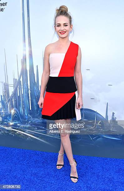 Actress Britt Robertson attends the world premiere of Disney's 'Tomorrowland' at Disneyland Anaheim on May 9 2015 in Anaheim California