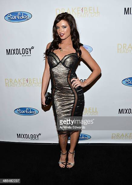Actress Brittany Brousseau arrives at Drake Bell's 'Ready Steady Go' album release party at Mixology101 Planet Dailies on April 17 2014 in Los...