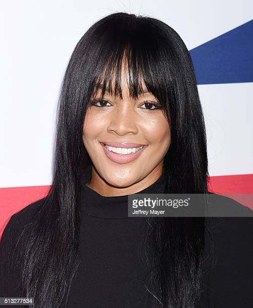 Actress Brittany Hampton attends the premiere of Focus Features' 'London Has Fallen' held at ArcLight Cinemas Cinerama Dome on March 1 2016 in...