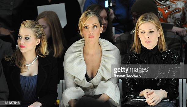 Actress Brittany Murphy, actress Kim Raver and TV personality Mary Alice Stephenson attend Monique Lhuillier Fall 2008 during Mercedes-Benz Fashion...