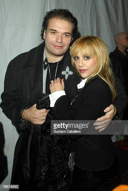 Actress Brittany Murphy and Simon Monjack arrives at the fashion tents in Bryant Park during MercedesBenz Fashion Week Fall 2008 on February 4 2008...