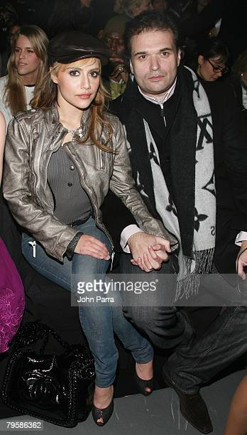 Actress Brittany Murphy and Simon Monjack attends Diesel Fall 2008 during MercedesBenz Fashion Week at theTent at Bryant Park on February 5 2008 in...