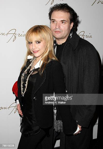 Actress Brittany Murphy and Simon Monjack backstage at the Max Azria 2008 fashion show during MercedesBenz Fashion Week Fall 2008 at The Tent at...