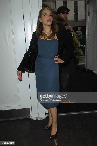 Actress Brittany Murphy arrives at the fashion tents in Bryant Park during MercedesBenz Fashion Week Fall 2008 on February 5 2008 in New York City