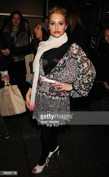 Actress Brittany Murphy attends the Matthew Williamson Fall 2008 fashion show during MercedesBenz Fashion Week Fall 2008 at Lux Studios on February 5...