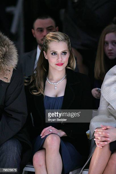 Actress Brittany Murphy attends the Monique Lhuillier Fall 2008 fashion show during MercedesBenz Fashion Week Fall 2008 at The Promenade at Bryant...