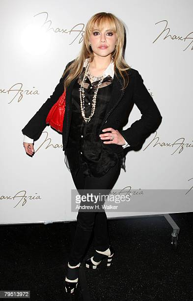 Actress Brittany Murphy backstage at the Max Azria 2008 fashion show during MercedesBenz Fashion Week Fall 2008 at The Tent at Bryant Park on...