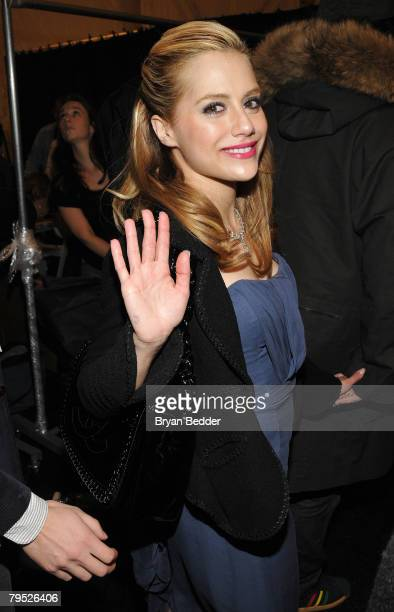 Actress Brittany Murphy backstage at the Monique Lhuillier Fall 2008 fashion show during MercedesBenz Fashion Week Fall 2008 at The Promenade at...