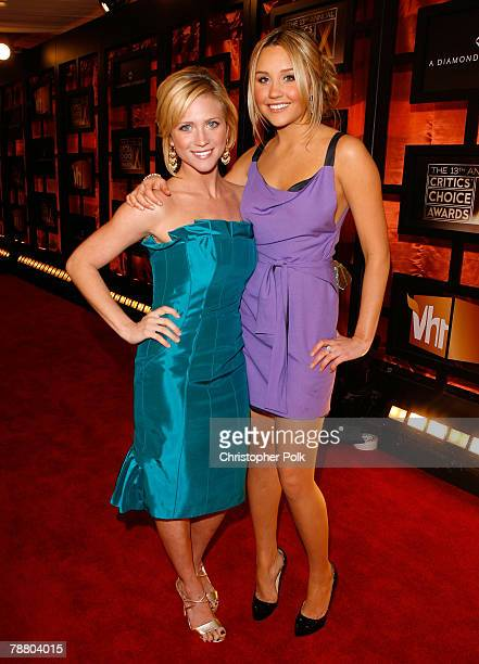 Actress Brittany Snow and Actress Amanda Bynes arrive at the 13th ANNUAL CRITICS' CHOICE AWARDS at the Santa Monica Civic Auditorium on January 7...