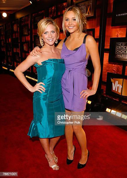 Actress Brittany Snow and Actress Amanda Bynes arrive at the 13th ANNUAL CRITICS' CHOICE AWARDS at the Santa Monica Civic Auditorium on January 7,...