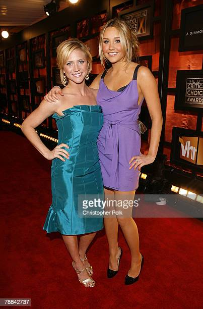 Actress Brittany Snow and Actress Amanda Bynes arrives at the 13th ANNUAL CRITICS' CHOICE AWARDS at the Santa Monica Civic Auditorium on January 7...
