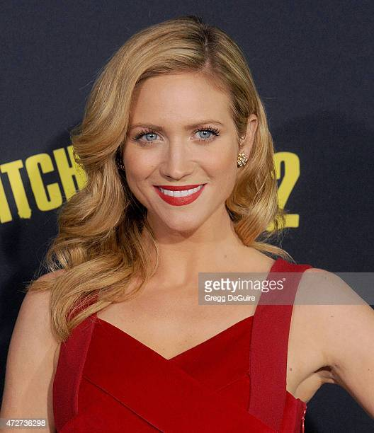 Actress Brittany Snow arrives at the Los Angeles premiere of 'Pitch Perfect 2' at Nokia Theatre LA Live on May 8 2015 in Los Angeles California