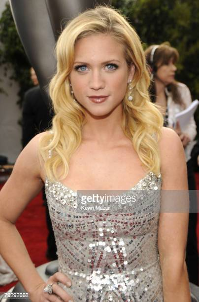 Actress Brittany Snow arrives to the TNT/TBS broadcast of the 14th Annual Screen Actors Guild Awards at the Shrine Auditorium on January 27, 2008 in...