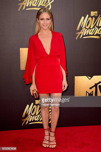 Actress Brittany Snow attends the 2016 MTV Movie Awards at Warner Bros Studios on April 9 2016 in Burbank California MTV Movie Awards airs April 10...