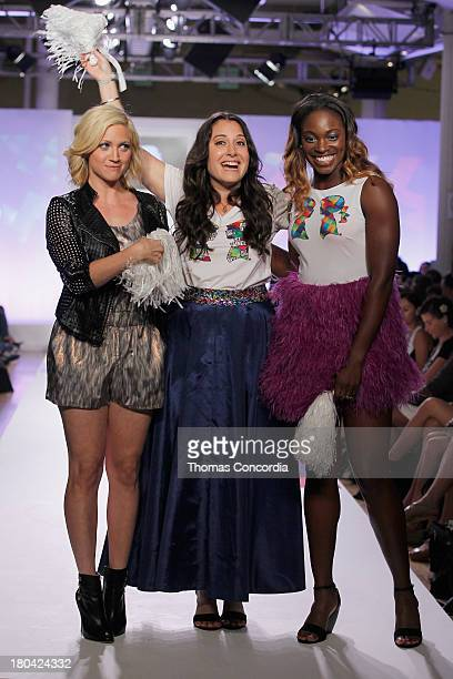 Actress Brittany Snow designer Stacy Igel and American professional tennis player Sloane Stephens walks the runway during Just Dance with Boy Meets...