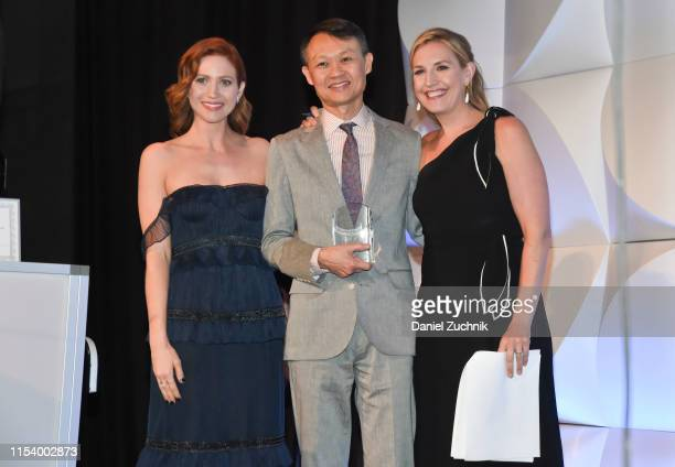 Actress Brittany Snow JED Media Award Recipient Howard Lee and CNN anchor Poppy Harlow attend the Jed Foundation's Annual Gala an evening dedicated...