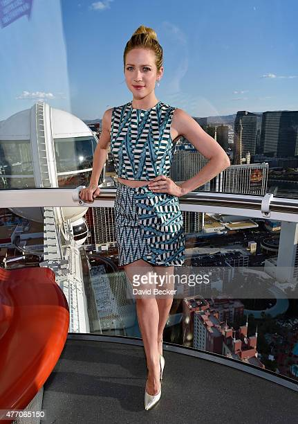 Actress Brittany Snow rides the world's tallest observation wheel the High Roller at The LINQ Promenade on June 13 2015 in Las Vegas Nevada