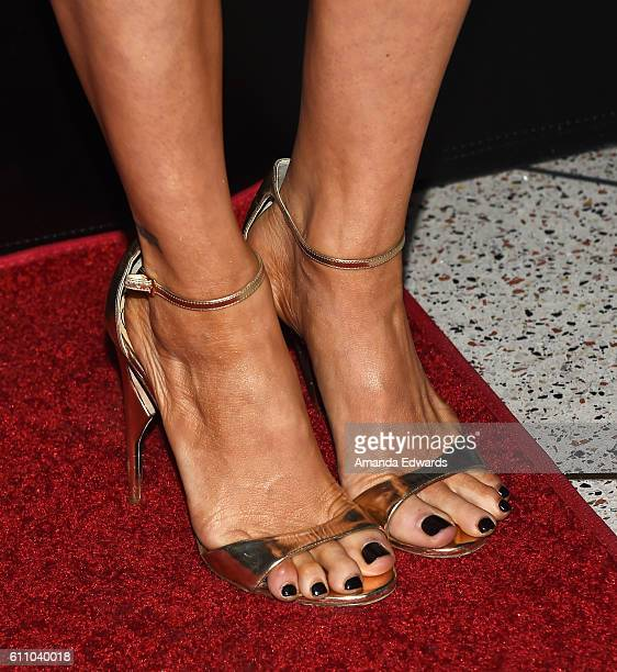 Actress Brittany Snow shoe and pedicure detail arrives at the premiere of IMAX's 'Voyage Of Time The IMAX Experience' at the California Science...