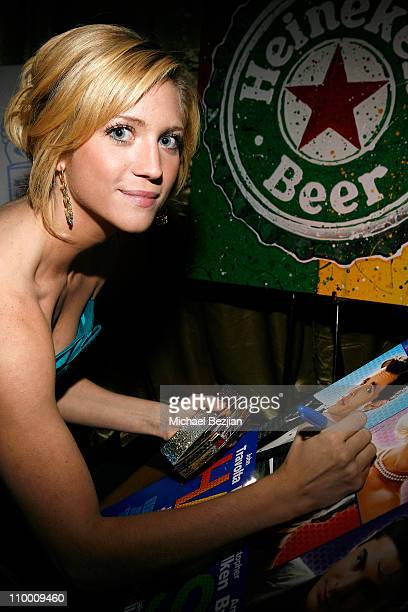 Actress Brittany Snow signs movie poster for charity at the Critics' Choice Awards at the Santa Monica Civic Center on January 7 2008 in Santa Monica...