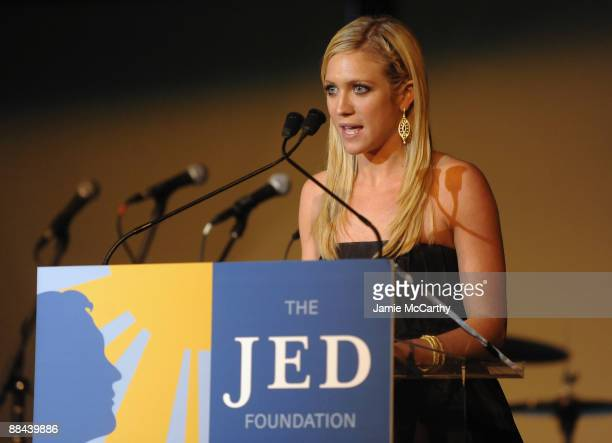 Actress Brittany Snow speaks on stage at the 8th Annual Jed Foundation Gala at Guastavino's on June 11 2009 in New York City