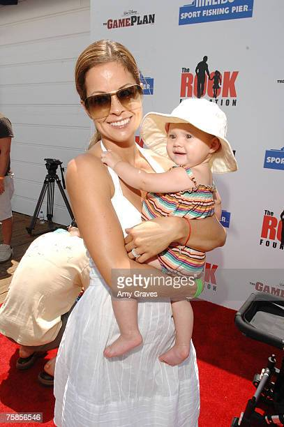 Actress Brooke Burke and daughter Rain Charvet arrive at the Summer On The Pier Benefiting 'The Rock' Foundation Event on July 29 2007 in Malibu...
