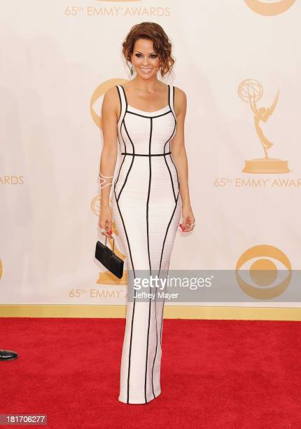 Actress Brooke BurkeCharvet arrives at the 65th Annual Primetime Emmy Awards at Nokia Theatre LA Live on September 22 2013 in Los Angeles California