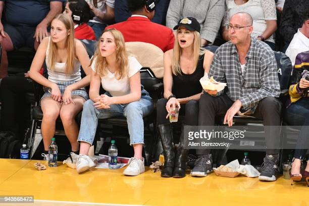 Actress Brooke Burns and Gavin O'Connor attend a basketball game between the Los Angeles Lakers and the Utah Jazz at Staples Center on April 8 2018...