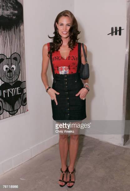 Actress Brooke Burns attends artist Louis Carreon's showcase of Hollywood life collection entitled 'For the Love of Honey' at Uncle Buck's Gallery on...