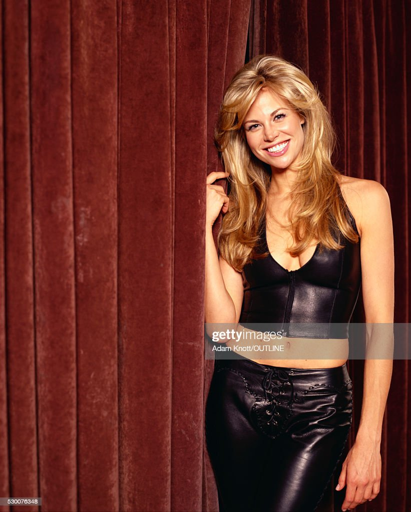 Black Label Price >> Actress Brooke Burns In Black Leather Outfit Stock Photo | Getty Images