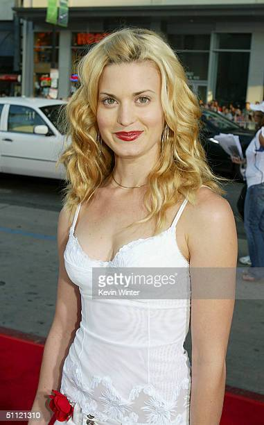 Actress Brooke D'Orsay arrives at the World Premiere of Harold Kumar Go to White Castle at the Grauman's Chinese Theatre on July 27 2004 in Hollywood...