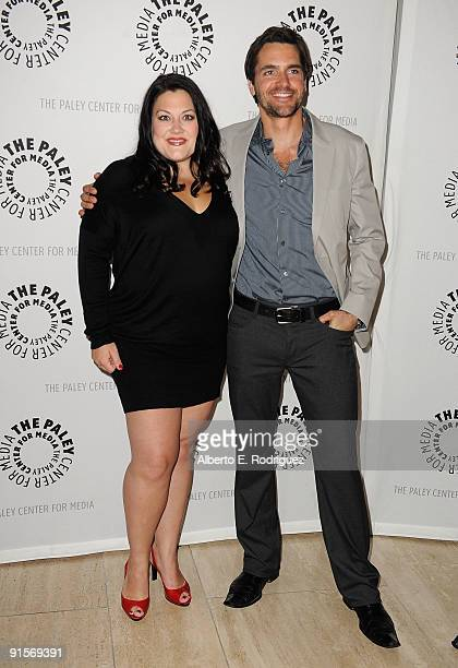 Actress Brooke Elliott and actor Jackson Hurst arrive at the Drop Dead Diva Season One Finale held at the Paley Center for Media on October 7 2009 in...