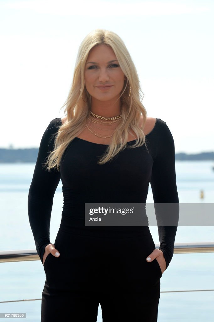 Actress Brooke Hogan posing for a photocall on the occasion of the MipTV, International Television Programme Market, in Cannes (south-eastern France) on .
