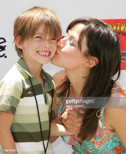 Actress Brooke Langton and her son Zane attend the Second Annual Kidstock Music and Art Festival on June 1 2008 in Beverly Hills California