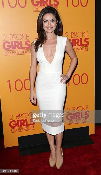 Actress Brooke Lyons attends the 100th episode celebration of CBS' '2 Broke Girls' at Mrs Fish on October 3 2015 in Los Angeles California