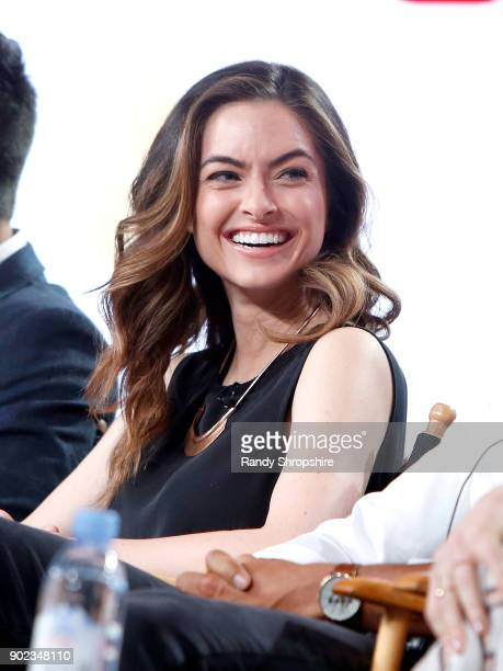Actress Brooke Lyons of the television show Life Sentence speaks on stage during the CW portion of the 2018 Winter Television Critics Association...