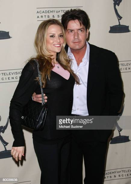 Actress Brooke Mueller and actor Charlie Sheen arrives at the Evening with Two And A Half Men at the Leonard Goldenson Theater on February 27 2008 in...
