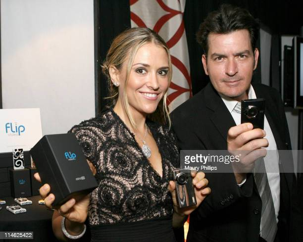 Actress Brooke Mueller and actor Charlie Sheen attend the The Lipton Green VitaliTEA Gift Lounge Backstage at the Nokia Theatre Celebrating the 61st...