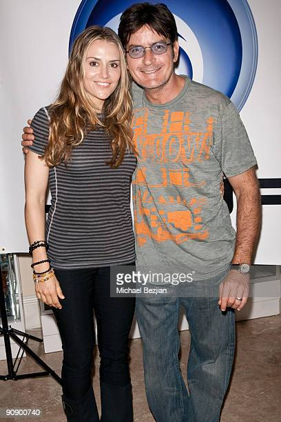 Actress Brooke Mueller and husband actor Charlie Sheen attend Ubisoft's Just Dance Lounge at the Silver Spoon Emmy Suite at Maloof Estate on...