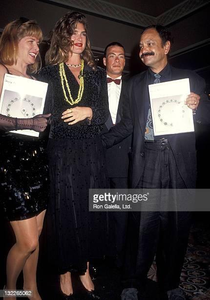 Actress Brooke Shields actor JeanClaude Van Damme actor Cheech Marin and wife Patti Heid attend the RitzCarlton Mauna Lana Celebrity Sports...