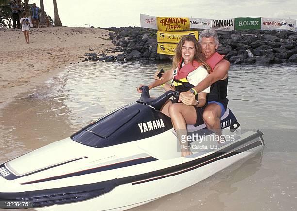 Actress Brooke Shields and actor Barry Bostwick attend the Ritz-Carlton Mauna Lana Celebrity Sports Invitational - Yamaha WaveRunner Practice Day on...