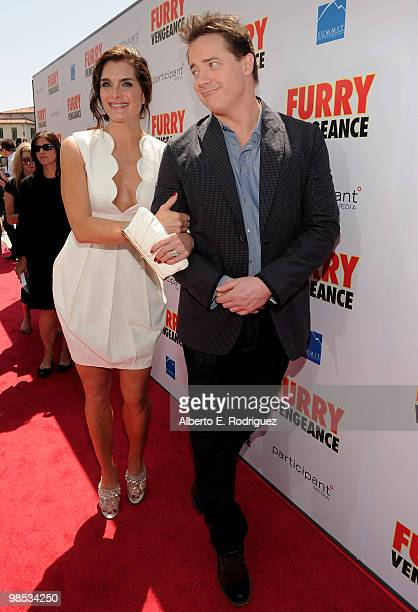 Actress Brooke Shields and actor Brendan Fraser arrive at the premiere of Summit Entertainment and Participant Media's Furry Vengeance at the Bruin...