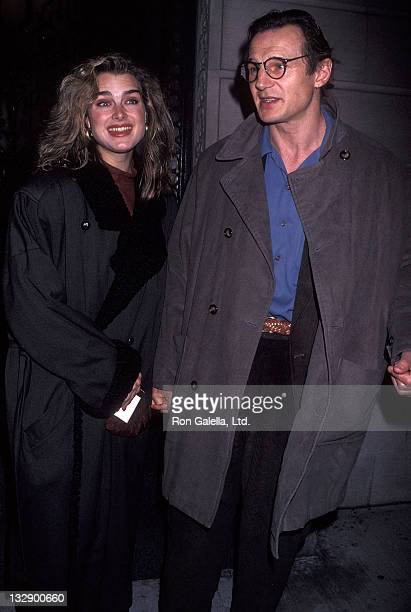 Actress Brooke Shields and actor Liam Neeson attend the Cocktail Reception for Sven Nykvist's Oscar Nomination for Best Foreign Language Film Oxen on...