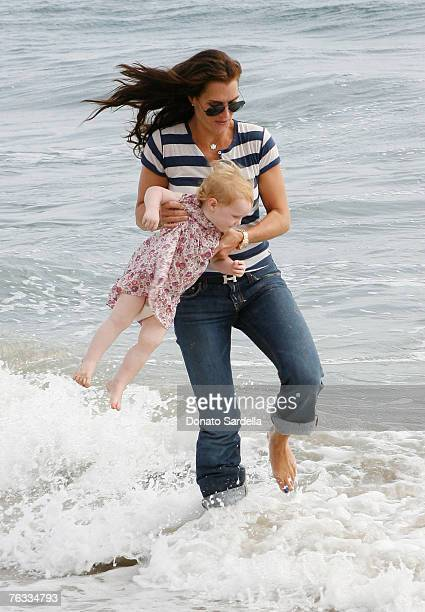 MALIBU CA AUGUST 25 Actress Brooke Shields and daughter Grier Henchy attend the French Connection's Kids connection to benefit The Art Of Elysium on...