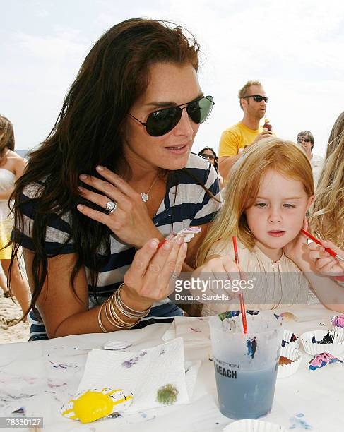 MALIBU CA AUGUST 25 Actress Brooke Shields and daughter Rowan Henchy attend the French Connection's Kids connection to benefit The Art Of Elysium on...