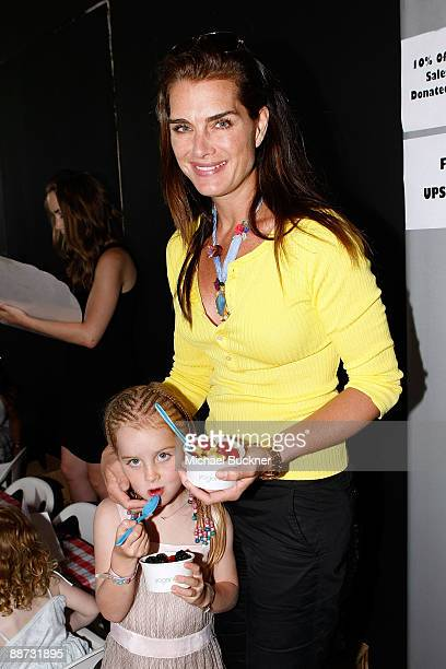 Actress Brooke Shields and daughter Rowan Henchy enjoy Yogen Fruz during the EB Medical Research Foundation picnic presented by Sinupret for Kids and...