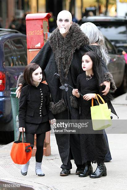 Actress Brooke Shields and daughters Grier Hammond Henchy and Rowan Francis Henchy are seen trick or treating in the west village on October 31 2011...