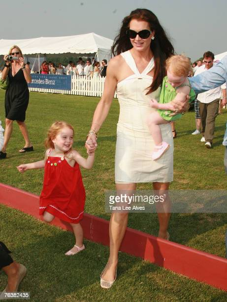 Actress Brooke Shields and daughters Rowan and Grier Henchy visit the Mercedes Benz Polo Challenge at the Bridgehampton Polo Club August 4 2007 in...