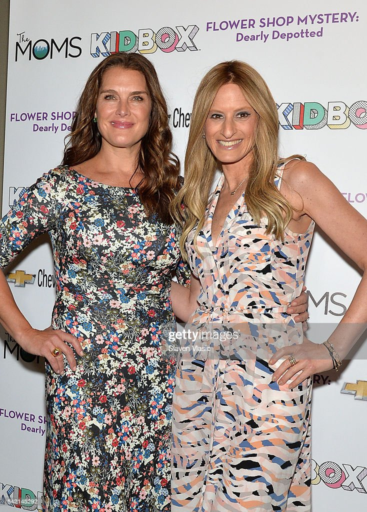 Actress Brooke Shields (L) and Denise Albert, Co-founder of The MOMS attend The MOMS, Kidbox & Chevy Tri-State's Flower Shop Mystery: Dearly Depotted MAMARAZZI¨ event at The Park Avenue Screening Room on June 22, 2016 in New York City.